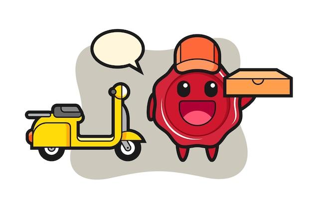 Illustrazione del carattere della ceralacca come fattorino della pizza