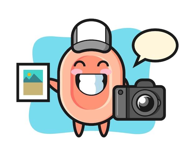 Illustrazione di carattere di sapone come fotografo, stile carino per maglietta, adesivo, elemento logo