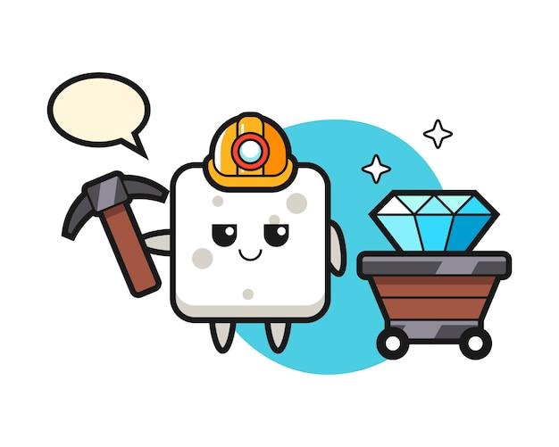 Illustrazione di carattere del cubo di zucchero come minatore, stile carino per t-shirt, adesivo, elemento logo