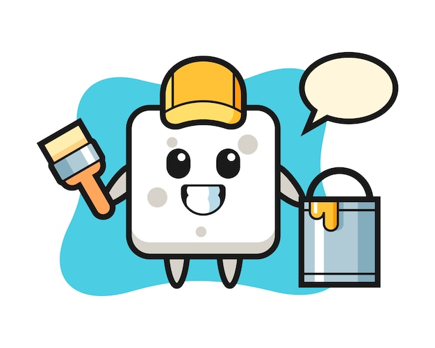 Illustrazione di carattere del cubo di zucchero come pittore, stile carino per t-shirt, adesivo, elemento logo