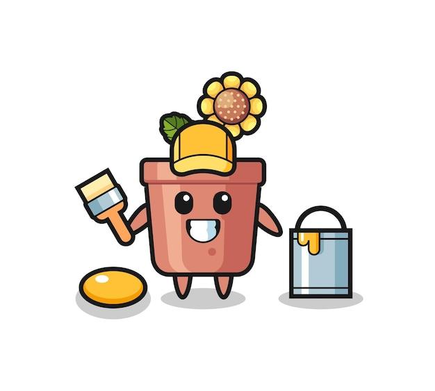 Illustrazione del personaggio del vaso di girasole come pittore, design in stile carino per maglietta, adesivo, elemento logo