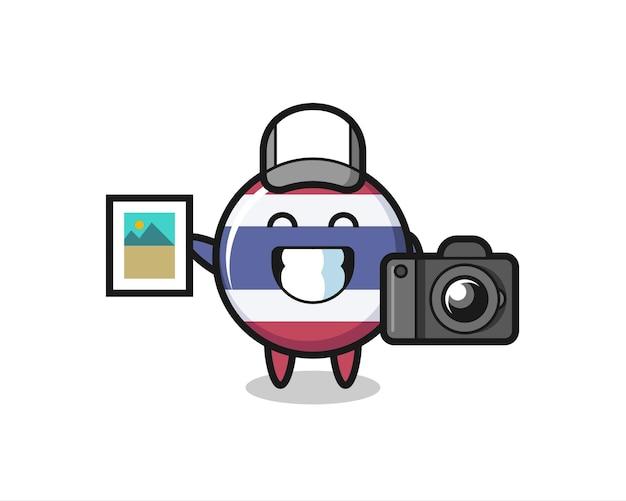 Illustrazione del personaggio del distintivo della bandiera thailandese come fotografo, design in stile carino per maglietta, adesivo, elemento logo