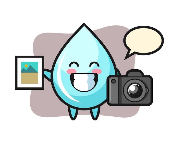 Illustrazione di carattere di goccia d'acqua come fotografo, design in stile carino per t-shirt