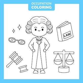 Carattere della pagina da colorare di occupazione di lavoro