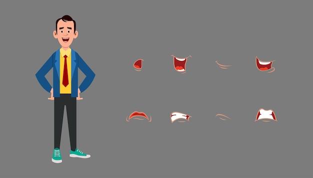 Set di espressioni di sincronizzazione labiale dei personaggi. diverse emozioni per l'animazione
