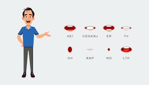 Foglio di espressione di sincronizzazione labiale dei personaggi per l'animazione. foglio di espressione parlante del personaggio.
