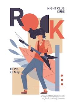 Il personaggio del festival di musica rock dal vivo suona la chitarra