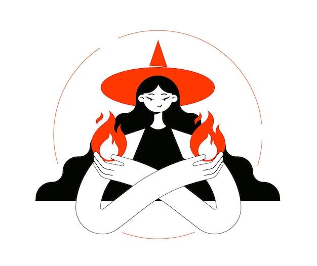 Carattere di una strega ragazza magica in un cappello con le braccia incrociate che tiene una fiamma