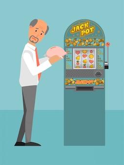Il maschio del carattere perde tutto il gioco d'azzardo dei soldi, illustrazione di slot machine persa contanti dell'uomo. salvadanaio a persona, dipendenza da gioco.