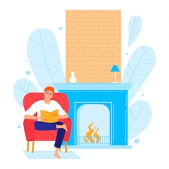 La poltrona di seduta maschio del carattere ha letto il libro, camino accogliente domestico isolato su bianco, illustrazione del fumetto. luogo di design room.
