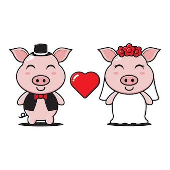 Il personaggio della coppia di maiali sposati