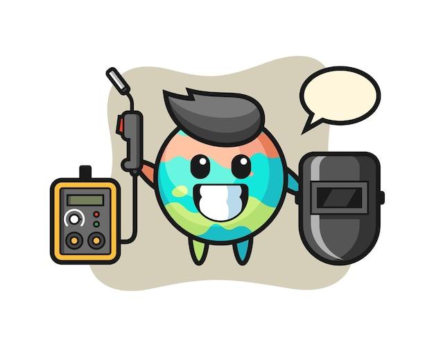 Personaggio mascotte della bomba da bagno come saldatore, design in stile carino per maglietta, adesivo, elemento logo