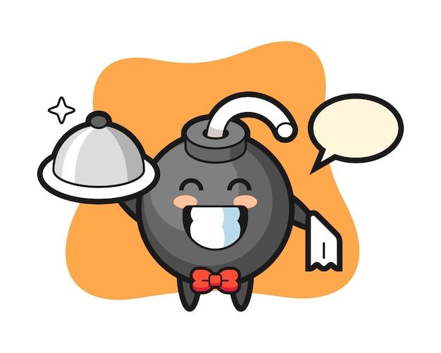 Personaggio mascotte della bomba come camerieri
