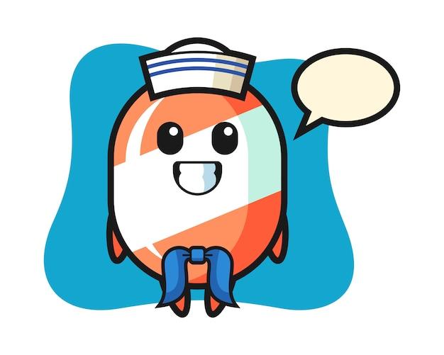 Personaggio mascotte di caramelle come un marinaio