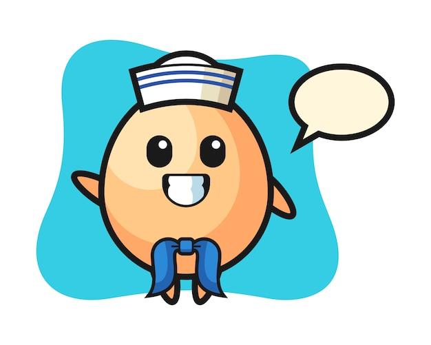 Personaggio mascotte di uovo come un marinaio, design in stile carino per maglietta, adesivo, elemento logo