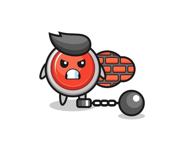 Personaggio mascotte del pulsante antipanico di emergenza come prigioniero, design carino
