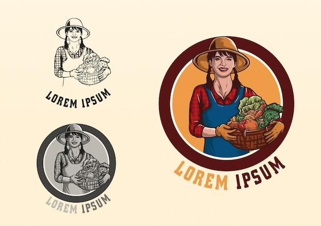 Carattere mascotte farmer girl logo