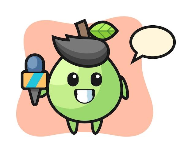 Mascotte personaggio di guava come cronista, design in stile carino per maglietta, adesivo, elemento logo
