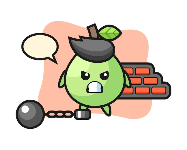 Mascotte personaggio di guava come prigioniero, design in stile carino per maglietta, adesivo, elemento logo