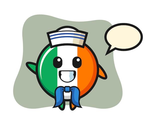 Carattere mascotte del distintivo bandiera irlanda come un marinaio