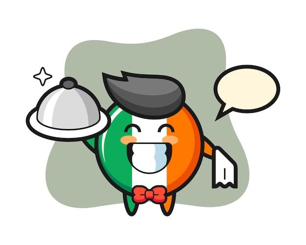 Carattere mascotte del distintivo bandiera irlanda come camerieri