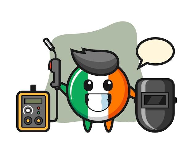 Carattere mascotte del distintivo bandiera irlanda come saldatore