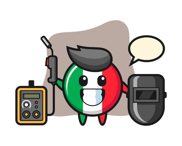 Carattere mascotte del distintivo bandiera italia come saldatore, stile carino, adesivo, elemento logo