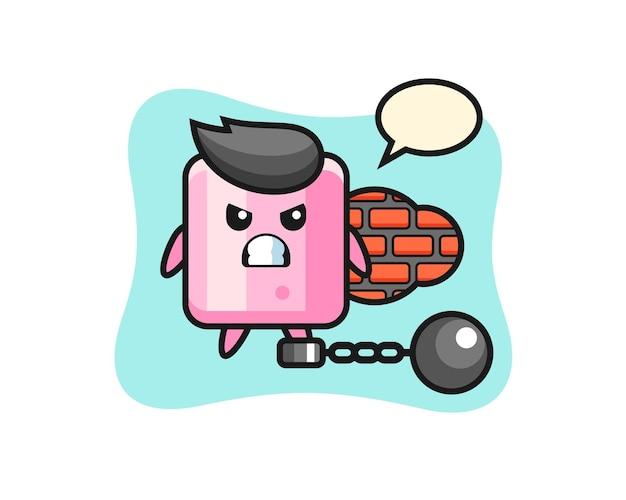 Personaggio mascotte di marshmallow come prigioniero, design in stile carino per maglietta, adesivo, elemento logo