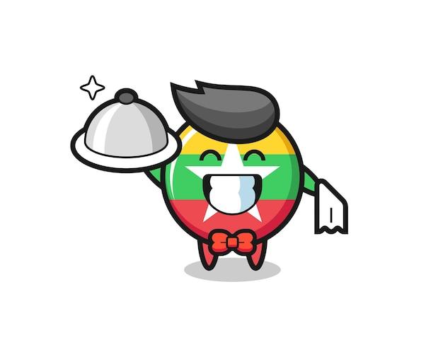 Mascotte del personaggio del distintivo della bandiera del myanmar come camerieri, design carino