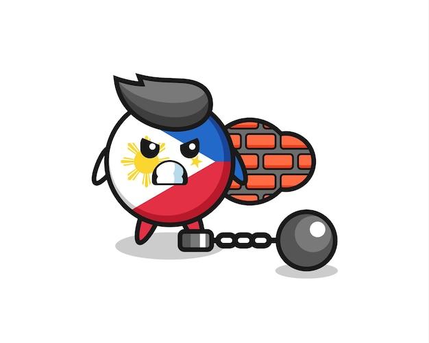 Personaggio mascotte del distintivo della bandiera delle filippine come prigioniero, design in stile carino per t-shirt, adesivo, elemento logo