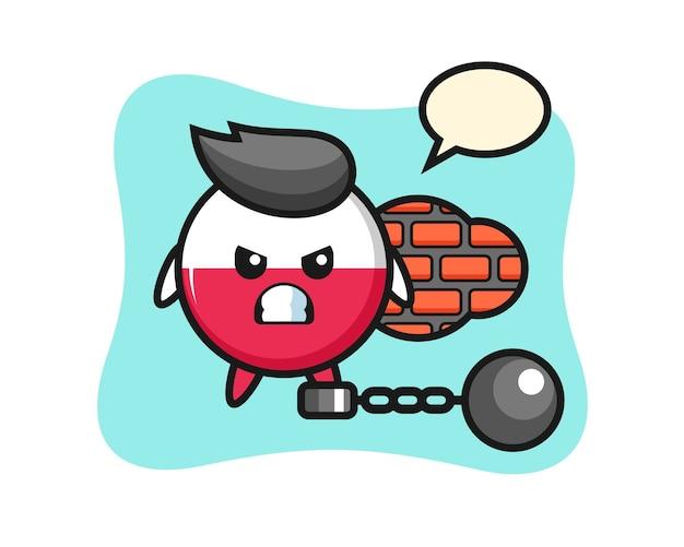 Carattere mascotte del distintivo bandiera polonia come prigioniero
