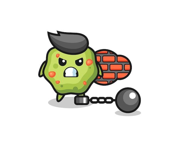 Personaggio mascotte di vomito come prigioniero, design in stile carino per maglietta, adesivo, elemento logo