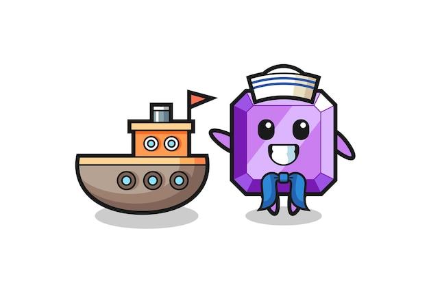 Personaggio mascotte della pietra preziosa viola come un marinaio, design in stile carino per maglietta, adesivo, elemento logo