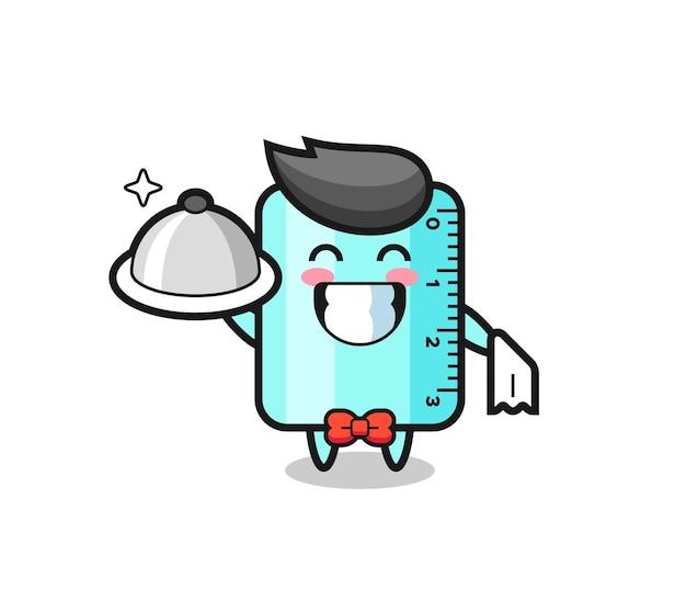 Personaggio mascotte del righello come camerieri, design in stile carino per maglietta, adesivo, elemento logo
