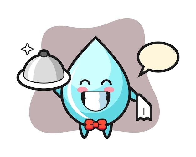 Personaggio mascotte di goccia d'acqua come camerieri, design in stile carino per maglietta