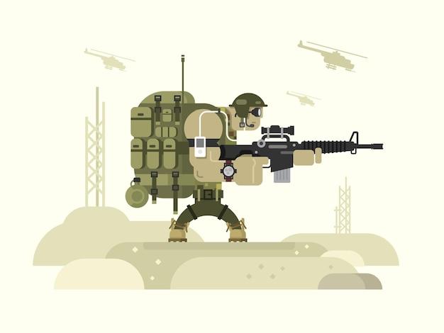 Personaggio militare peacekeeper. soldato dell'esercito e guerra, arma e uniforme, illustrazione vettoriale piatta