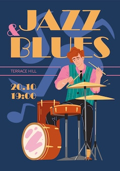 Gruppo musicale di personaggi, jazz, rock, blues elegante banner poster web concetto online.