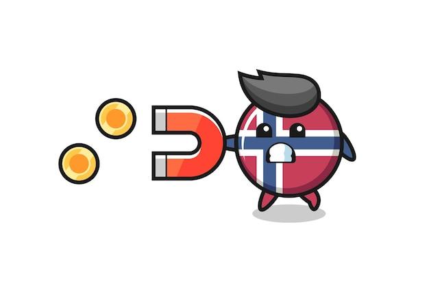 Il personaggio del distintivo della bandiera della norvegia tiene un magnete per catturare le monete d'oro, un design in stile carino per maglietta, adesivo, elemento logo