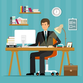 Carattere di impiegato. uomo d'affari che lavora in ufficio, seduto alla scrivania, guardando lo schermo del computer e la scrittura.