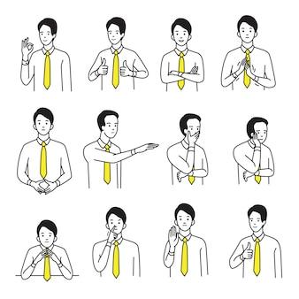 Set di ritratti di personaggi di uomo d'affari con vari segni di mano il linguaggio del corpo e l'espressione delle emozioni.