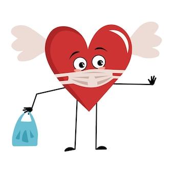 Personaggio cuore rosso con ali ed emozioni tristi mantieni le mani a distanza con la borsa e ferma il gesto