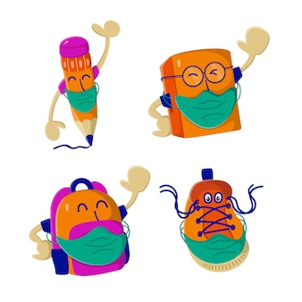 Set di caratteri torna a scuola indossare maschera