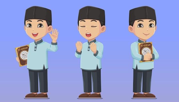 Set di caratteri ragazzo musulmano che tiene il sacro corano e prega