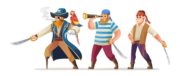 Set di caratteri di capitano pirata e soldati che tengono la spada
