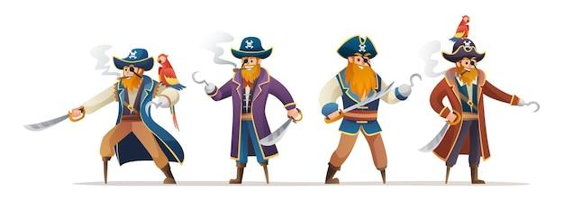 Set di caratteri di pirati che tengono la spada