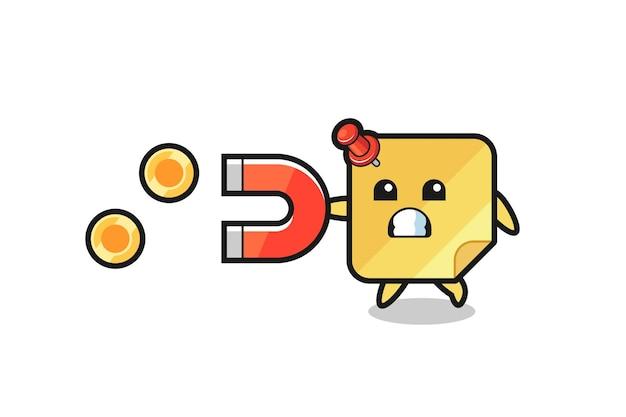 Il personaggio delle note adesive tiene un magnete per catturare le monete d'oro, un design in stile carino per maglietta, adesivo, elemento logo