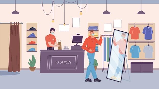 Il personaggio prova nuovi abiti alla moda nel negozio di moda durante la quarantena della pandemia di coronavirus