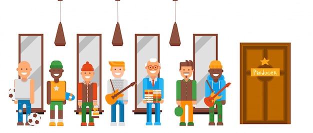 Carattere con diversi talenti imposta illustrazione. uomini in fila al produttore di porte che sponsorizzano il loro hobby. ragazzi con la chitarra