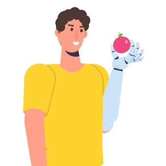 Personaggio con un braccio bionico o una mano meccanica robotica, concetto di protesi. illustrazione vettoriale isolato