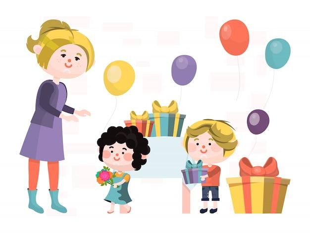La donna del carattere celebra la festa della mamma, scatola del regalo del regalo dei bambini alla femmina isolata su bianco, illustrazione. vacanze in famiglia.